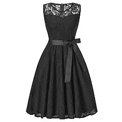 Idea Regalo - Vintage Vestito Mini Vestiti Donna Senza Maniche di Tulle Abito Eleganti Corti da Cermonia Pizzo Sera Nero