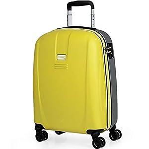 JASLEN – Maleta Pequeña de Viaje Cabina 55x40x20 4 Ruedas Trolley ABS. Equipaje de Mano. Rígida Fuerte Duradera y Ligera. Candado TSA Marca. 56550, Color Amarillo-Plata
