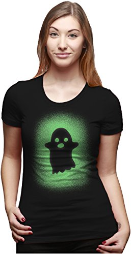 mens Glowing Ghost T Shirt Glow in The Dark Cool Halloween Party Tee (Black) 3XL - Damen - 3XL (Halloween-boo-t-shirt)