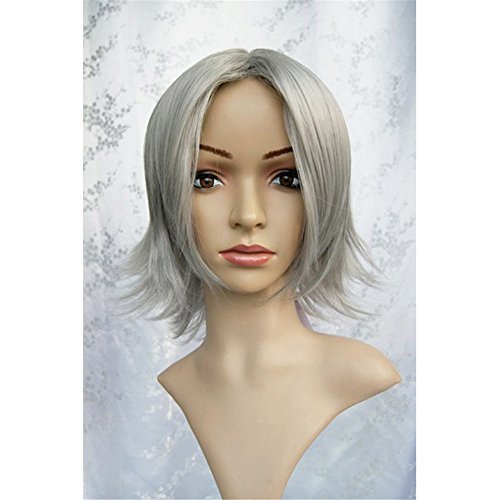 Hitman Halloween Kostüme (LanTing Cosplay Perücke Hitman Reborn Gokudera Hayato Grey Perücke Corta Cosplay Party Fashion Anime Human Costume Full wigs Synthetic Haar Heat Resistant)