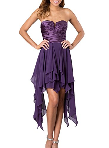 Azbro Women's Cut-out Neck Asymmetric Strapless Cocktail Dress Fuchsia