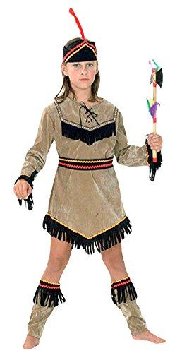Figuren Pocahontas Kostüm - erdbeerloft - Mädchen Karneval Indianer Indianermädchen Pocahontas Kostüm, alle sichtbaren Teile, braun schwarz, 6-8 Jahre