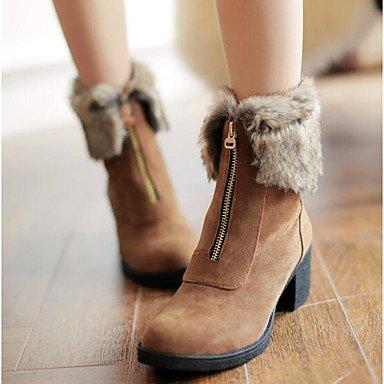 Rtry Femmes Chaussures Nabuck Pu Cuir Automne Hiver Mode Bottes Bottes Talon Plat Bottines / Bottines Bottes Mi-mollet Pour Casual Beige Marron Noir Us6 / Eu36 / Uk4 / Cn36