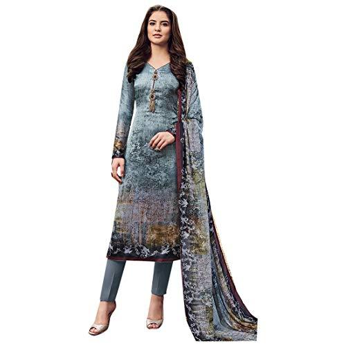 Bollywood Abendgarderobe Ethnisch bedruckter Satin Salwar Kameez Designer Indische muslimische Frauenkleid Kurti Pajami 7405 - Kameez Kurti