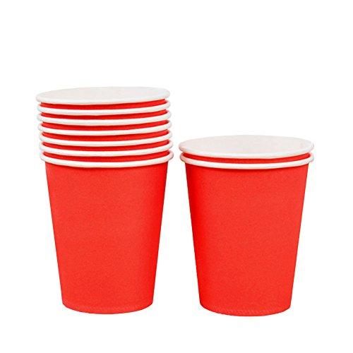 rty Pappbecher 9 oz (250ml) Einwegbecher für Kaltgetränke und Heißgetränke (Rot) ()
