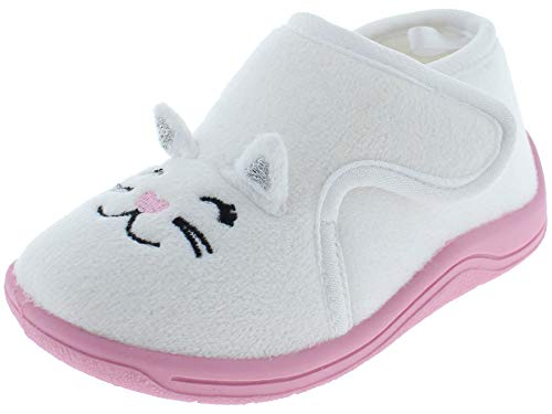 Capelli New York Toddler Girls Cute Pup Indoor Slippers with Bow Detail