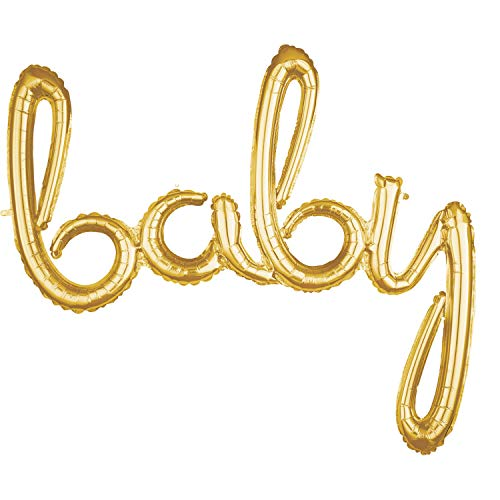 amscan 3669011 - Globo de plástico con la Palabra Baby, Color Dorado