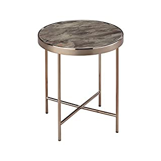 ASPECT Fino Round Side/Coffee/End/Lamp Table, Steel, Rose Gold/Brown Marble Glass, 42.5 x 42.5 x 46 cm