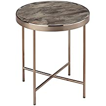 Aspetto fino Round Side/caffè/End/lampada da tavolo, metallo, vetro, marmo e oro rosa/marrone, 42.5x 42.5x 46cm