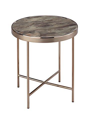 Aspekt Fino rund Seite/Kaffee/Ende/Lampe Tisch, Metall, Rose Gold/Braun/Marmor, Glas, 42,5x 42,5x 46cm