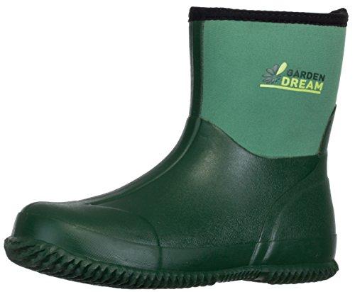 BRANDSSELLER Herren Damen Gartenstiefel - Garden Dream - Unisex Naturkautschuk/Neopren Wasserdicht Boots Kurzschaft Regenstiefel Arbeitsstiefel Farbe: Grün - Größe: 45