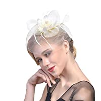Candyly Bridal Supplies Women Flower Mesh Ribbons Feathers Headband Cocktail Tea Party Hat Headwear