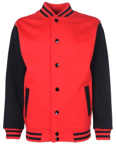 FDM Junior / Kinder Unisex College-Jacke mit kontrastfarbenen Ärmeln 5-6 Jahre,Feuerrot/Schwarz