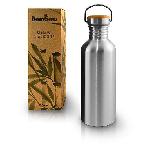 Bambaw Trinkflasche 1l Edelstahl | Langlebige Wasserflasche 1l| Wiederverwendbare öko Wasserflasche | Für Camping & Lagerfeuer | Trinkflasche Metall ohne Plastik | Sportflasche auslaufsicher