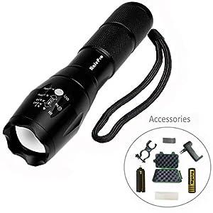 Halepro Torche Lampe de Poche LED, Rechargeable Torche LED-Lampe de Vélo,Lampe de Torche Militaire Poche LED Ultra Puissante Zoomable, L2 CREE LED-1000 Lumens, 5 Modes d'éclairage Ajustable, étanche