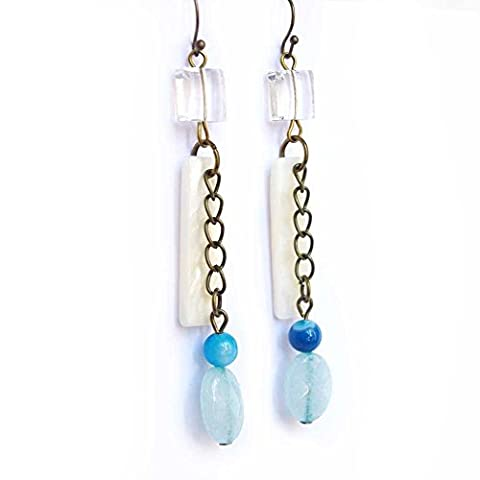idée cadeau maman - boucles d'oreilles jade bleu ciel agate bleue perles nacrées blanches pendentif blanc