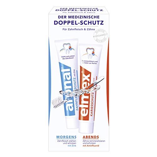 aronal und elmex Doppel-Schutz Zahnpasta, 3er Doppelpack (3 x 150 ml)