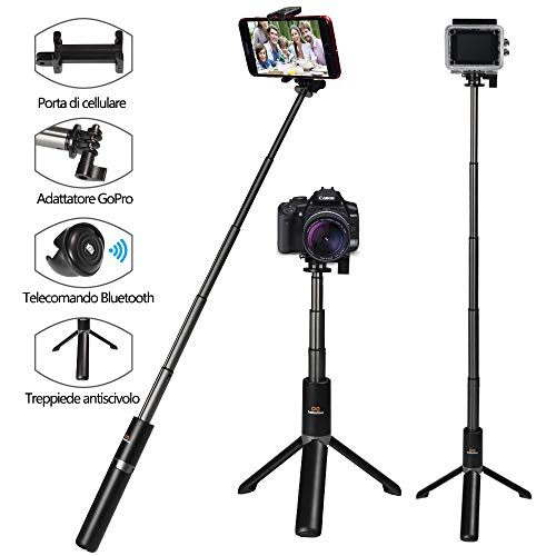 Bastone Selfie Treppiedi Supporto Smartphone Camera con Bluetooth Telecomando Estensibile Selfie Stick Nero con Bluetooth Remote per iPhone, Samsung e Android 3.6-6.3 Pollici