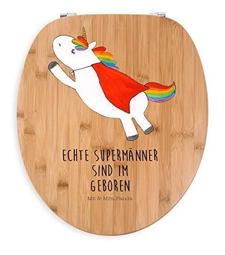 Mr. & Mrs. Panda Holz, Toilettendeckel, Motiv WC Sitz Einhorn Superman Geburtstag mit Spruch - Farbe Transparent