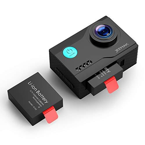 JEEMAK Action Cam 4K UHD 20MP Sport Kamera WiFi 170 ° Wasserdichte Actionkamera 40m Unterwasserkamera mit 2 Wiederaufladbare Batterien und viel Zubehör Kompatibel mit gopro