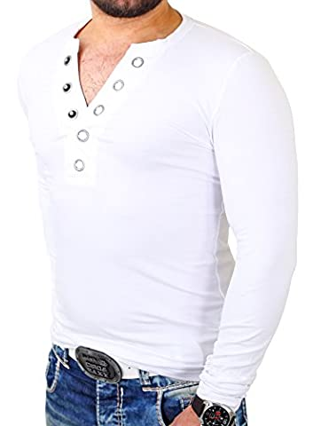 Reslad Langarmshirt Herren Authentic Big Button V-Neck Style Longsleeve RS-620 Weiß L