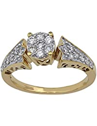 Lolls 1.08 CT 14K Yellow Gold Over 925 Sterling Silver Round Cut Cubic Zirconia Wedding Ring [Lolls_AMR1813_Y]