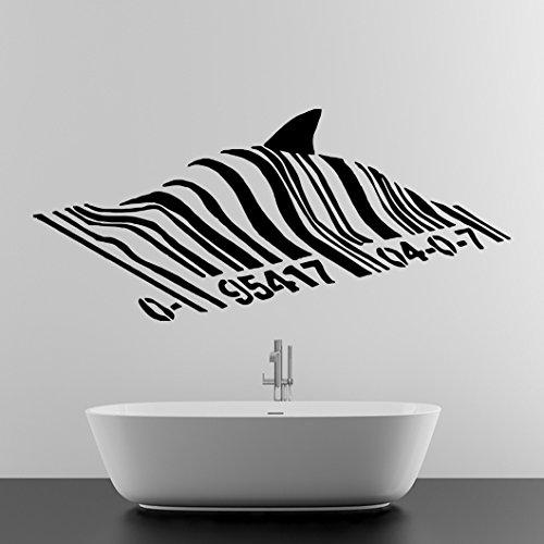 iv Banksy Wandtattoo, PVC, Motiv: Schwimmender Hai Fisch unter Bar Code Graffiti Street Art, Motiv: verschiedene Sticker, Vinyl, inkl. Geschenk (Schwimmende Hai)