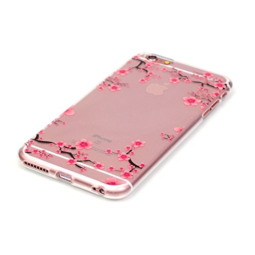 "Apple iPhone 6/6S 4.7"" Housse - Felfy Ultra Mince Slim Colour Peint Motif Papillon Ours Plume Tour Eiffel Gel Translucide Souple Soft Flexible Ultra Slim Souple Gel TPU coque de protection Bumper Cas  prune fleur"