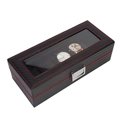 Caja De Exhibición De Almacenamiento De Reloj, Elegante Caja De Reloj De Pulsera De Estilo De Fibra De Carbono De 5 Ranuras Estuche De Exhibición Organizador De Contenedor De Almacenamiento