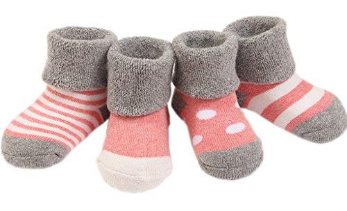 Smile YKK 4 Paar Winter WarmBaby Kinder Füßlinge Socken Erstlingssöckchen Wintersocken Babysocken Kindersocken M Pink(dick) (Firma Strumpfhosen Fit)