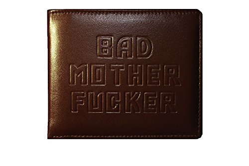 Preisvergleich Produktbild Bad Mother Fucker Geldbeutel / Geldbörse / Ledergeldbeutel / Ledergeldbörse / Brieftasche - braun - Brown embossed 100% leather wallet