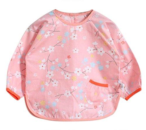Happy Cherry Dalantal de Jugar y Comer Impermeable Estampado de Dibujo Animados Blusón Babi Babero Para Bebés Niños Niñas Talla 90 - Rosa Flor de Ciruelo