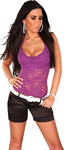 Damen Shirt Top T-Shirt Neckholder Spitze Spitzenshirt Wasserfall-Ausschnitt Lila 36