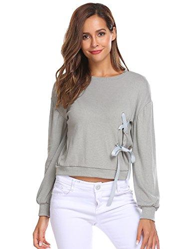 Beyove Damen Rundhals Sweatshirt Langarmshirt Pullover Bluse Oberteile Tops mit schnürung Grau