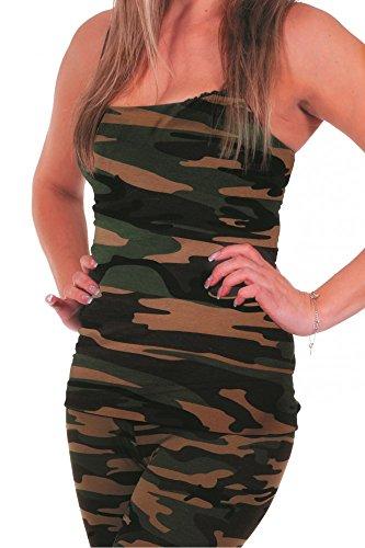 shoperama Damen Tanktop Camouflage Army Shirt Militär Trägershirt -