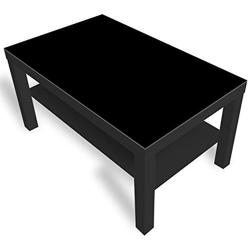 DekoGlas IKEA Lack Beistelltisch Couchtisch \'Einfarbig Schwarz\' Sofatisch mit Motiv Glasplatte Kaffee-Tisch, 90x55x45 cm Schwarz