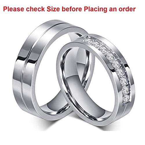 Moneekar Jewels Silver Titanium Stainless Steel Cubic Zirconia 2 Pcs 6Mm Couple Ring For Women & Men