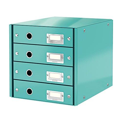 Leitz Schubladenbox Eisblau, 4 Schubladen, A4