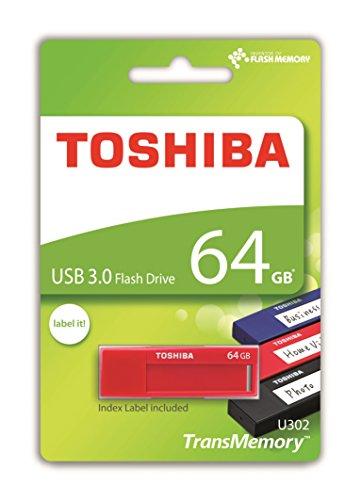 Toshiba TransMemory U302 64GB USB 3.0 Rojo Unidad Flash USB - Memoria USB (USB 3.0 (3.1 Gen 1), USB 3.0, Type-A, 0-50 °C, -20-60 °C, Tapa)