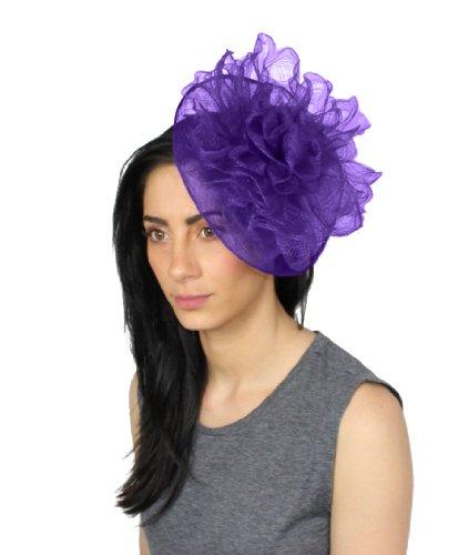 Bas'en sinamay avec petit rebord crin et fleurs Violet - Violet