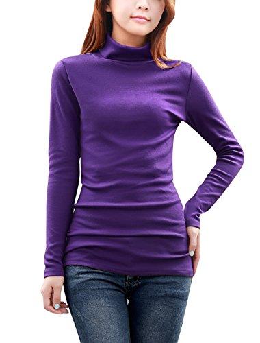 Allegra K Damen Langarm Slim Fit Rollkragen Top Bluse Violett XL (EU 48) - Womens Stretch-baumwolle Wrap Bluse