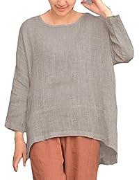 Juleya Mujer Camiseta Manga Larga Oversize Pullover Elegante Algodón Lino T-Shirt Loose Jersey Casual Llanura Cuello Redondo Irregural Dobladillo Pull-Over Blusas M - 5XL