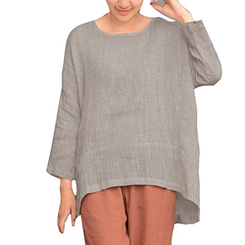 b574b19a2 Yying Mujer Manga Larga Camiseta Tops Oversize Vendimia Casual Blusas  Asimétrico Camisa Loose T-Shirt