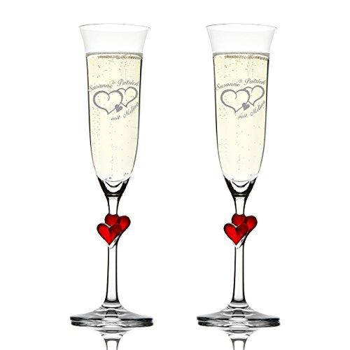 Stölzle Lausitz Amour Ensemble de 2 coupes à champagne avec gravure personnalisée motif - Deux Coeurs avec petit cœur