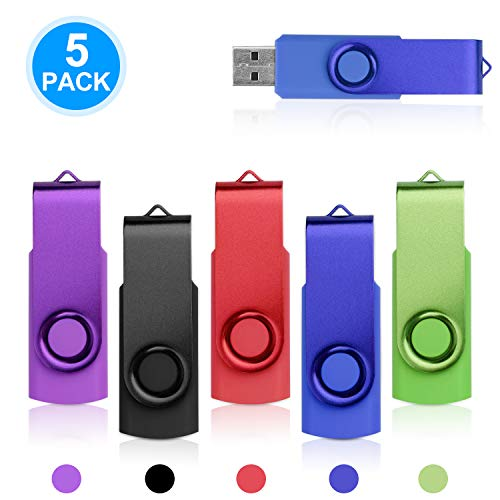 5 stücke 16 GB USB 2.0 Flash Drive WEISITE Swivel Memory Stick Speicher Thumb Drive Gemischte Farben (Schwarz Lila Grün Blau Rot) (- Usb-flash Swivel)