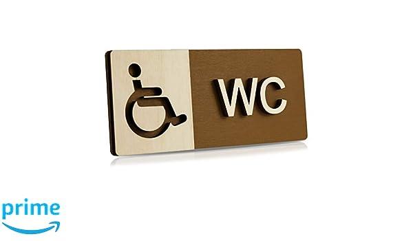 Manschin Laserdesign Plaque de porte WC en bois WC pour personnes handicap/ées Avec pictogramme Toilettes Behinderten WC