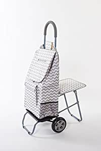 Trolley Dolly with Seat, Grey Chevron Shopping Grocery Foldable Cart Tailgate