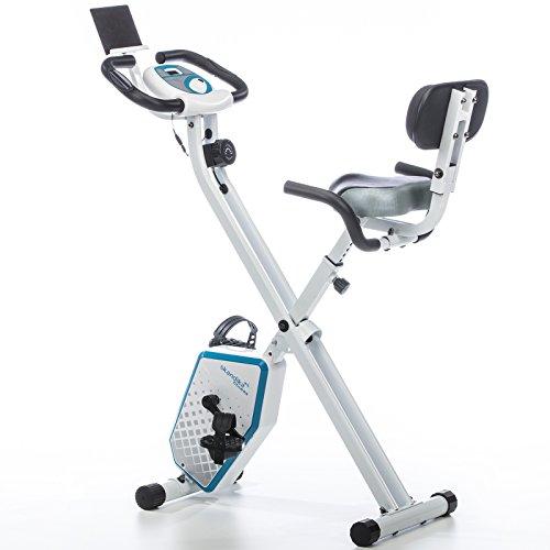 skandika Foldaway X-1000 Plus Fitnessbike mit Bluetooth, Tablet Halterung, Rückenlehne, Multifunktionscomputer, Handpulssensoren 8-stufige manuelle Widerstandseinstellung