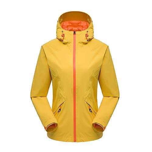 Starry sky Frauen-Jacke, kurzer dünner Abschnitt Sport und Freizeit, Herbst Wasser- und Winddichte Jacke,Gelb,XL