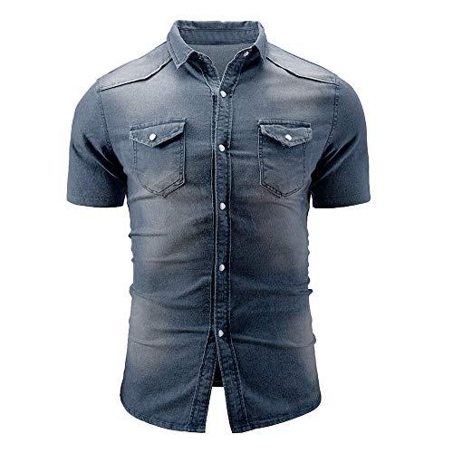 Camisas Hombre Manga Corta,YiYLunneo Camisa Vaquera de Vestir Hombre con Cuadros Camisa Slim Fit de Manga Corta con Cuello de Tira Hombre